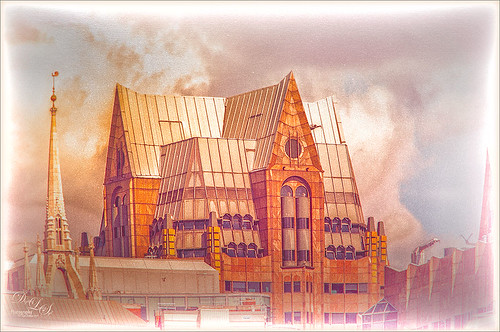 Image of buildings in London treated with Nik Analog Efex Pro and Topaz ReStyle