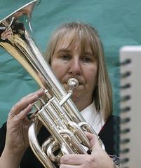 sousaphone(0.0), trumpet(0.0), horn(0.0), types of trombone(0.0), violist(0.0), tuba(1.0), trombone(1.0), euphonium(1.0), brass instrument(1.0), wind instrument(1.0),