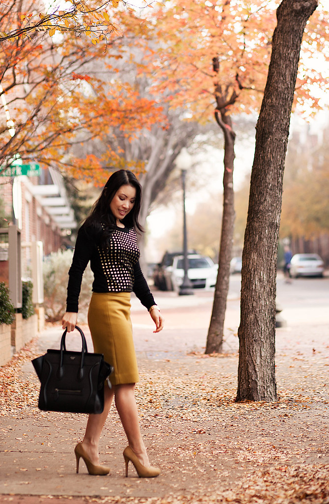 cute & little blog | black gold studded sweater, j. crew mustard pencil skirt, celine mini luggage tote outfit