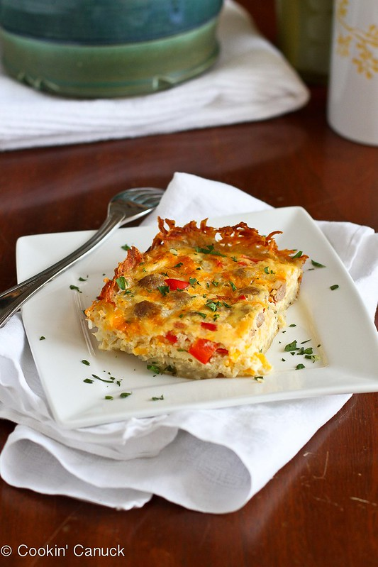 Skinny Sausage and Egg Breakfast Casserole Recipe | cookincanuck.com #breakfast #brunch #recipe