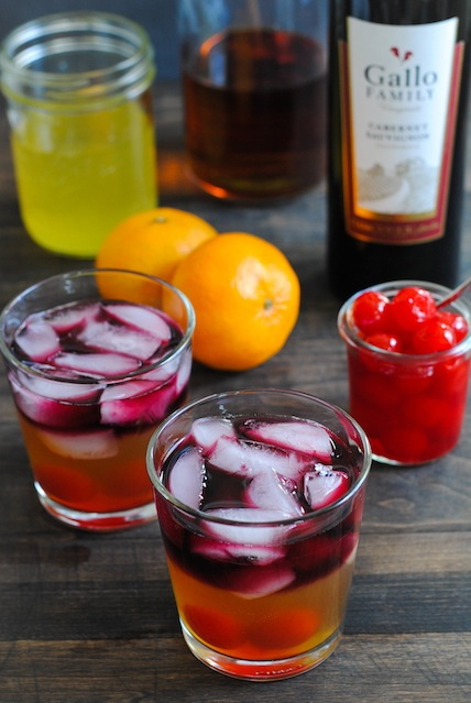 Clementine, Whiskey and Wine Cocktail - A strong but fruity and beautiful winter drink.