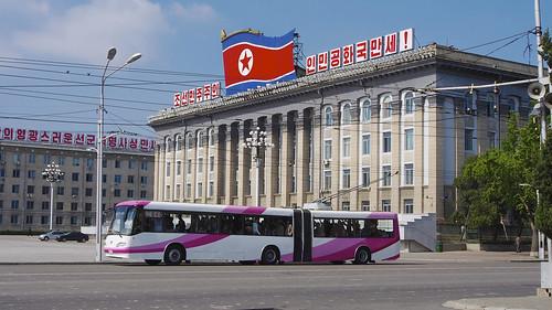 travel bus monument landscape scenery asia cityscape transit northkorea pyongyang dprk trollybus youngpioneertours