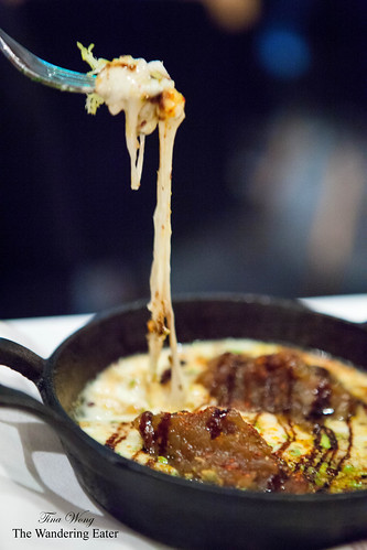 Gooey, stringy saganaki cheese
