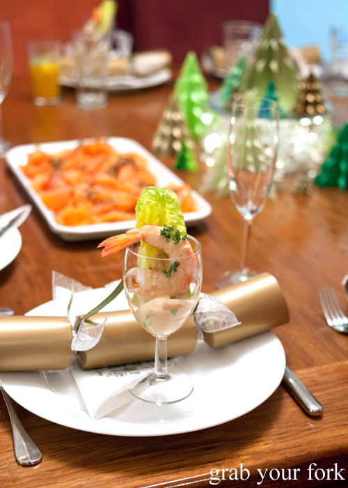 Prawn cocktail and homemade Christmas crackers at the Stomachs 11 Christmas dinner 2013