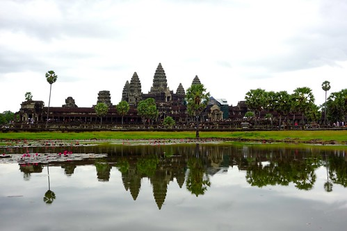 Angkor Wat temple reflected in the water