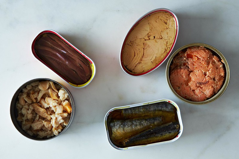 An assortment of canned fish