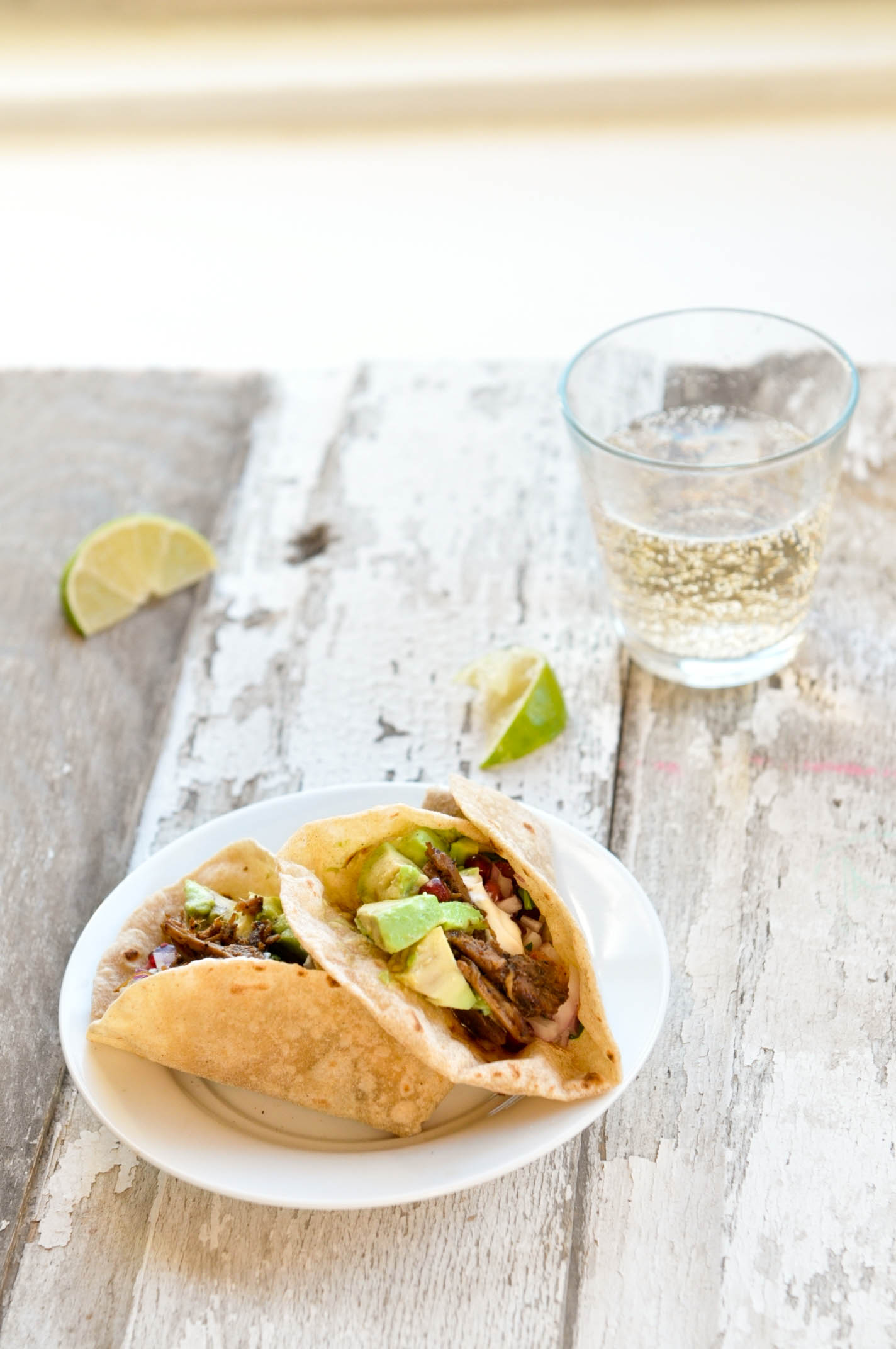 Coffee & Spice Pork Butt Wraps with drink
