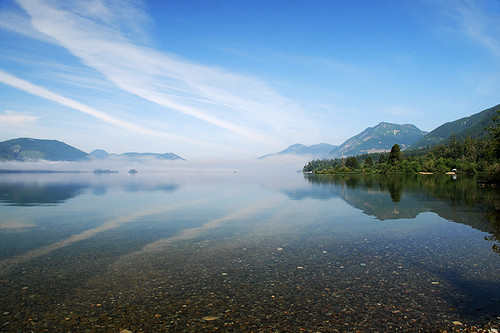 Early morning at Pine Point on Cowichan Lake, near Youbou, Vancouver Island, British Columbia