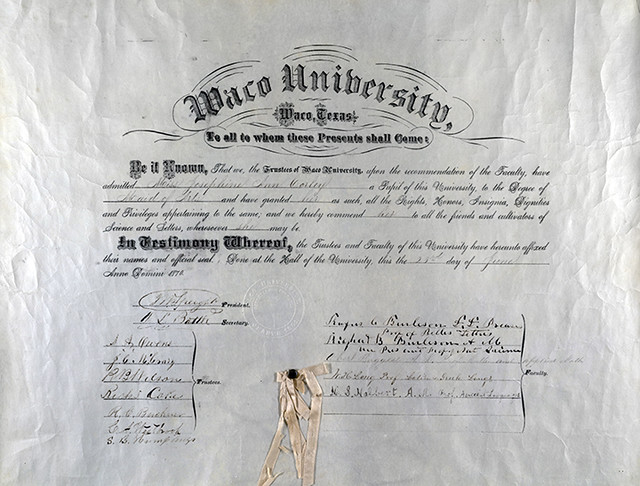 Waco University diploma for Josephine Ann Corley, 1870