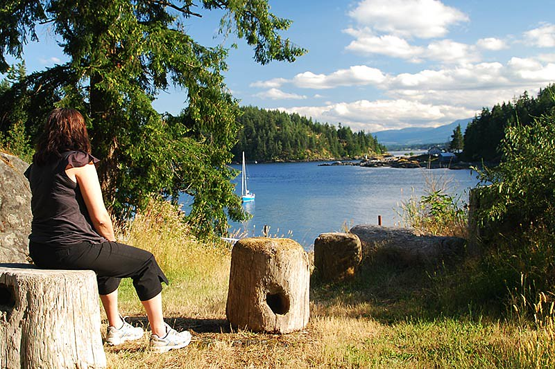 View of Grouse Island in Quathiaski Cove, Quadra Island, Discovery Islands, British Columbia, Canada