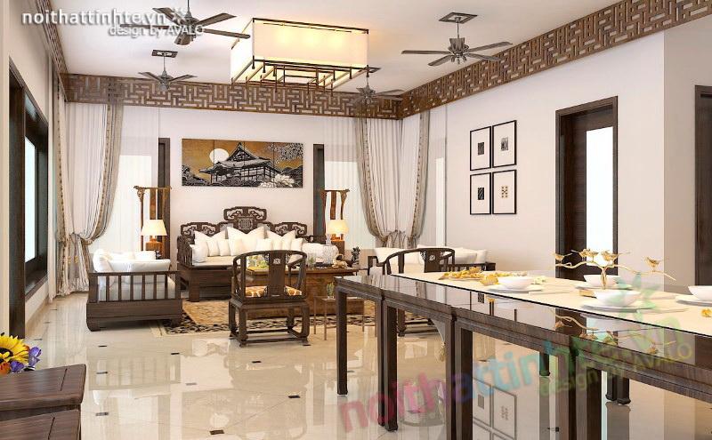 Phòng khách nghỉ dưỡng Sóc Sơn đẳng cấp Á Đông đương đại
