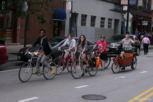 Women biking in Chicago