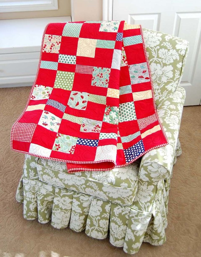 Charm Pack Cherry Quilt by Bonnie of Cotton Way featuring April Showers by Bonnie & Camille