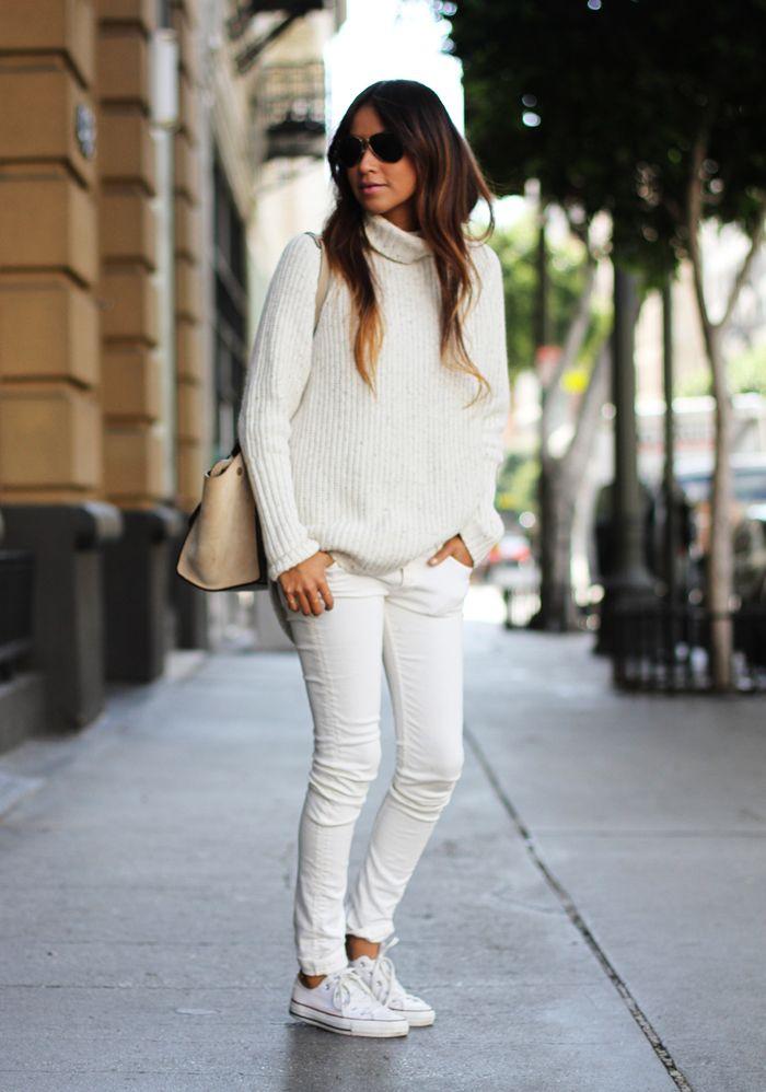 sincerely jules jeans blancos y converse