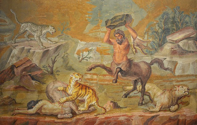 Mosaic: Pair of Centaurs Fighting Cats of Prey from Hadrian's Villa, c. 130 AD, Altes Museum Berlin