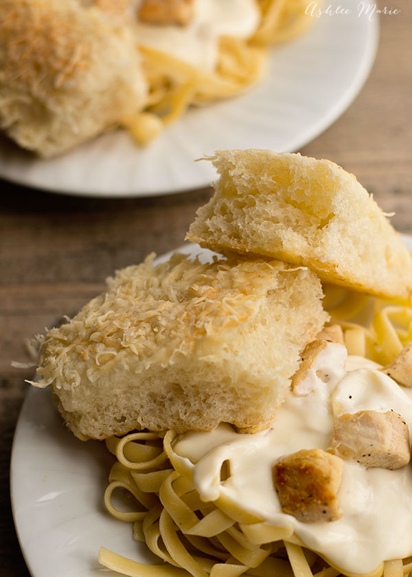 These breadsitcks are fluffy and oh so delicious.  They pair perfectly with my homemade alfredo sauce and other pastas