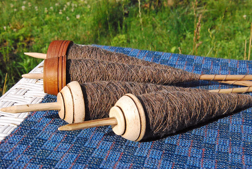Low whorl drop spindles with California Variegated Mutant wool Team Spindlers Tour de Fleece 2015