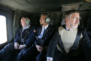 Vice President Cheney with Zalmay Khalilzad and David Addington Aboard Helicopter in Taji, Iraq