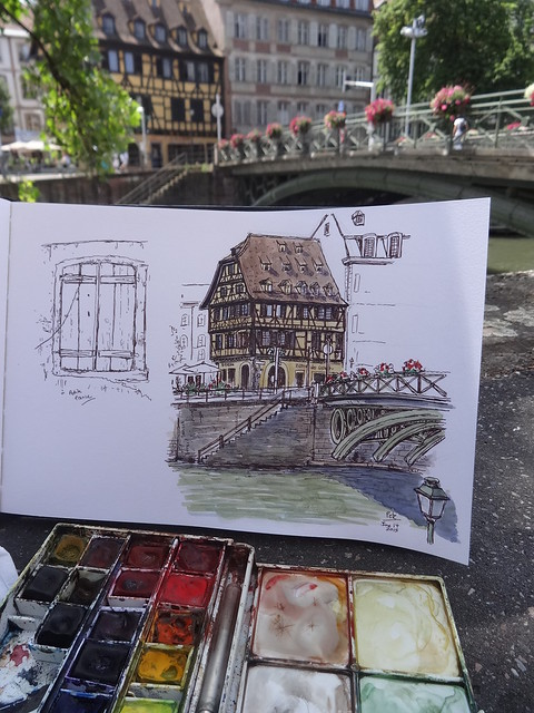 Sketching by the Ill river, Strasbourg