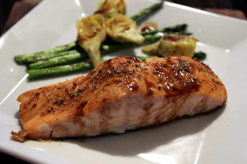 Salmon with Artichokes & Asparagus