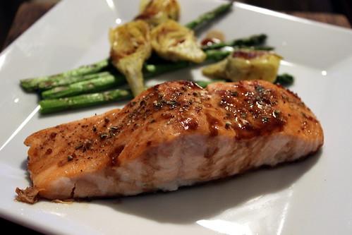 Salmon with Artichokes & Asparagus