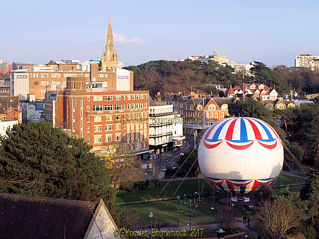 Gervis Place and the lower gardens in Bournemouth and the viewing Balloon,  from the upper Terrace road car park in 2013, before the development was built on this car park, Bournemouth, Dorset, England.