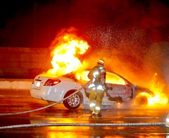 Car Erupts in Flames Following Collision on I-405 in North Hills