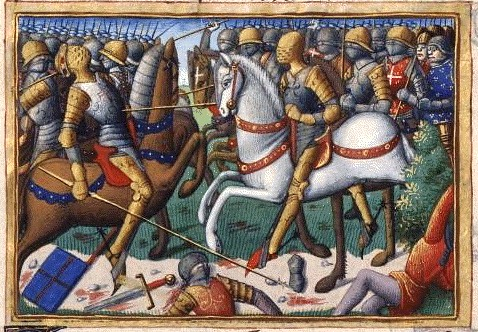 Battle of Baugé, miniature of 15th century