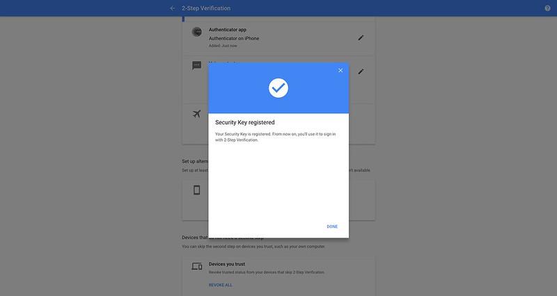 Google - 2 Step Verification - Security Key - Registered