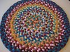 Turquoise, Red Round Braided Rug