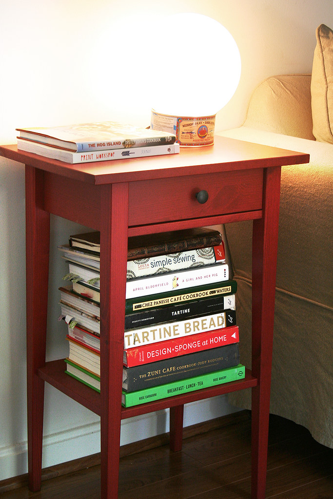 side table with anchovy tin lamp