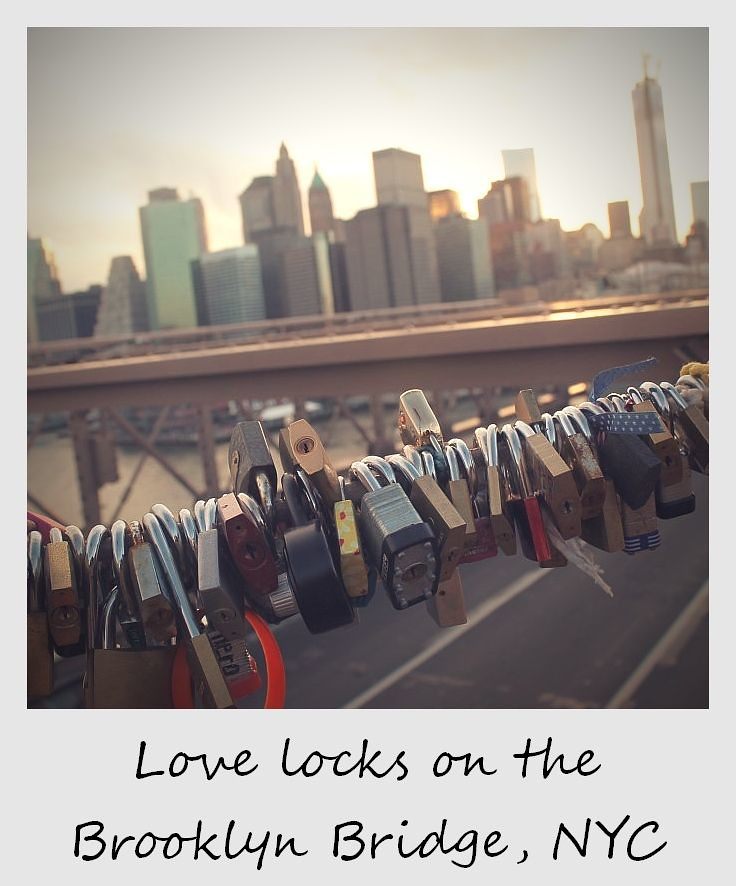 polaroid of the week new york city brooklyn bridge love locks