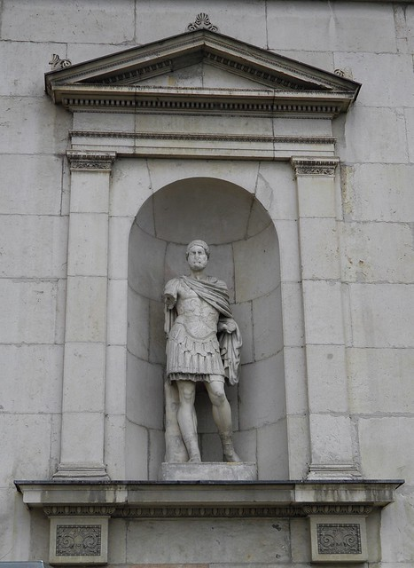 Modern statue of Hadrian on the facade of the Glyptothek Museum, Munich