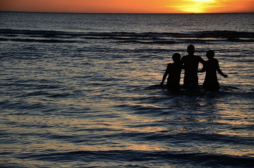 Three Lads and the Sunset by Rantz