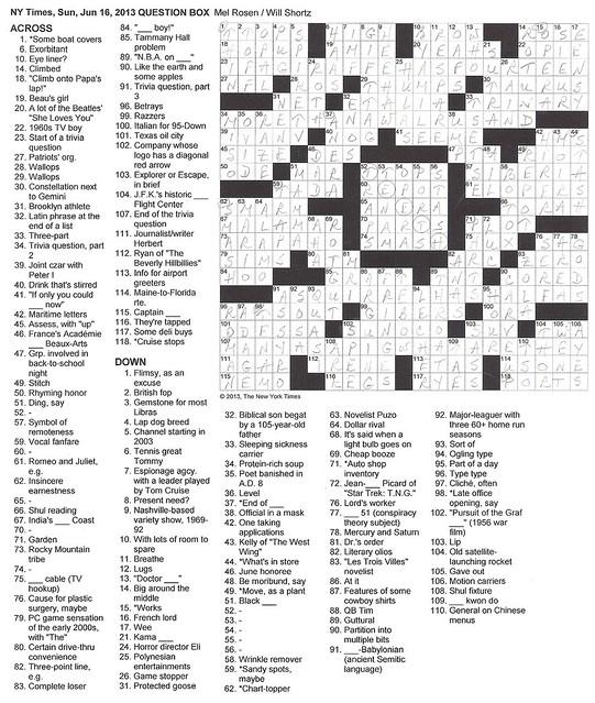 NYT Sunday Puzzle - June 16, 2013