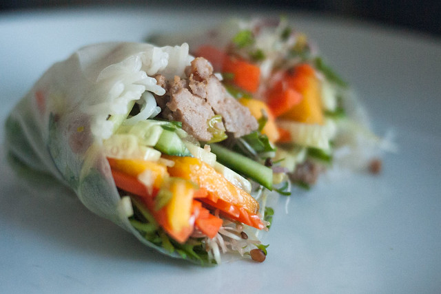 Vietnamese Pork Salad Rolls with Sprouts