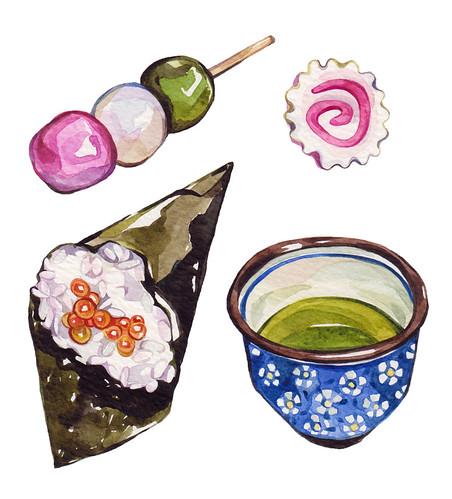 Hanami dango, narutomaki, temaki & matcha tea