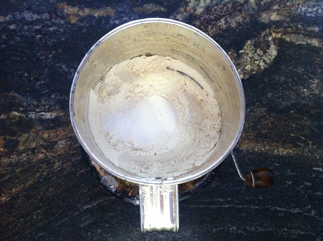 Flour, Salt and Baking Powder in Sifter