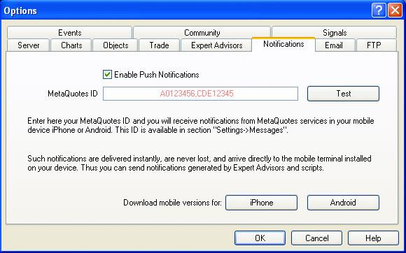 Metatrader 4 Push Notifications