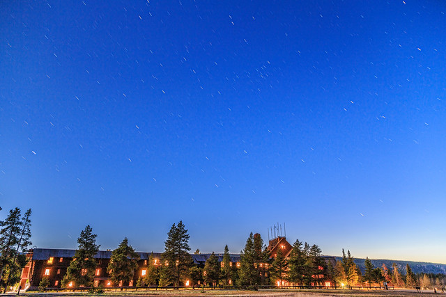 Star Trails Over the Old Faithful Inn