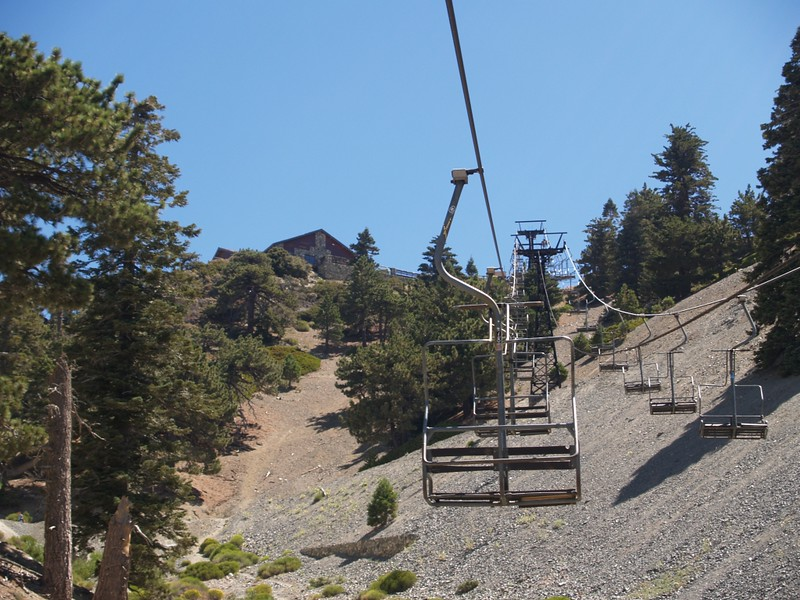 Mt. Baldy Ski Lift as it approaches the Ski Lodge