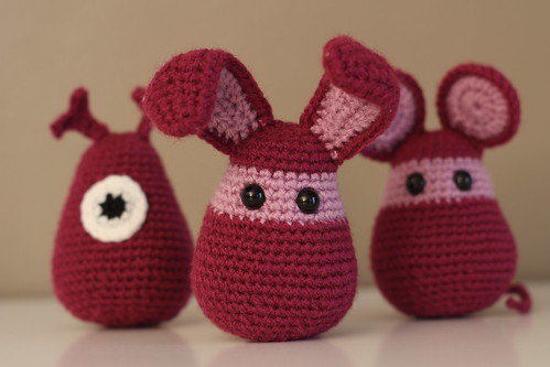 Crocheted alien, rabbit and mouse