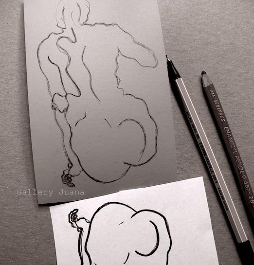 female figure linocut wip