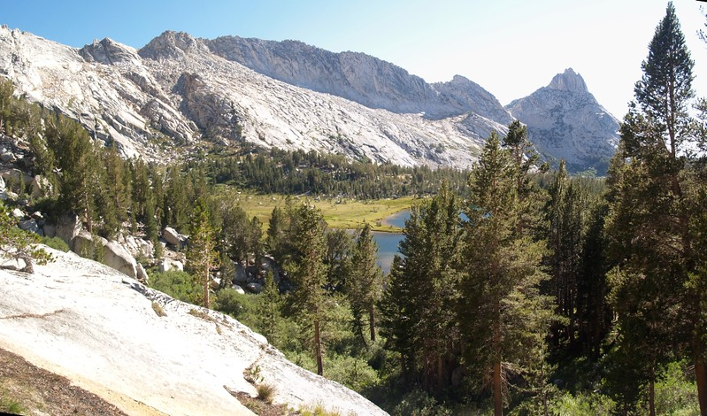 View back toward Ragged Peak and middle Young Lake as we climb upward