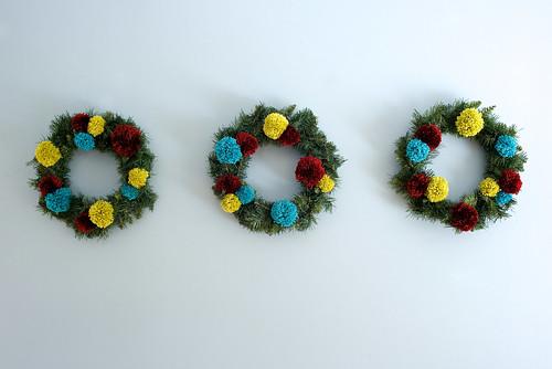 Pom pom wreaths.