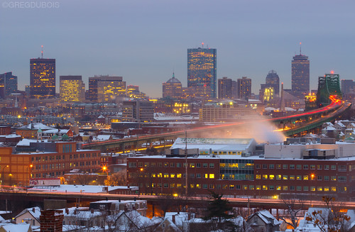 Snow Covered Boston Skyline at Dawn with Tobin Bridge and Chelsea Foreground by Greg DuBois Photography