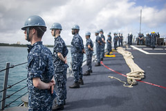 Sailors man the rails as USS McCampbell (DDG 85) arrives in Saipan, Jan. 21. (U.S. Navy photo by Mass Communication Specialist 3rd Class Chris Cavagnaro)