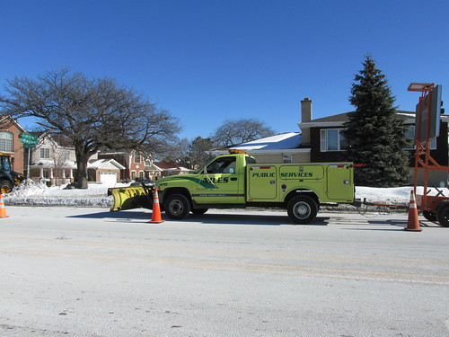 A Niles Public Services Dodge utility truck at the site of a water main break.  Niles Illinois.  Late January 2014. by Eddie from Chicago