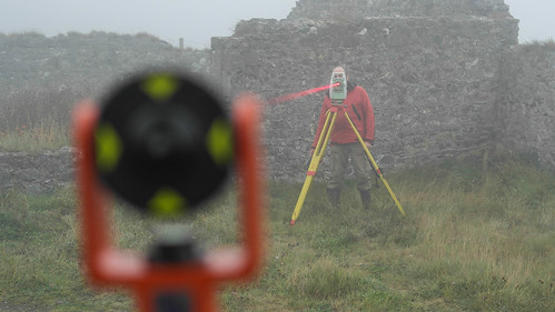 Total station work - preparation for laser scanning