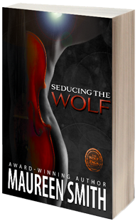 the cover of romance novel seducing the wolf is a black and red abstract design